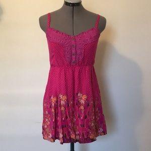 3/$30!FREE PEOPLE Pink Floral Cami Tank Boho